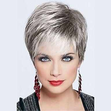 nuova+moda+brevi+parrucche+diritte+senza+cappuccio+di+alta+qualità+colore+misto+dei+capelli+umani+–+EUR+€+28.05