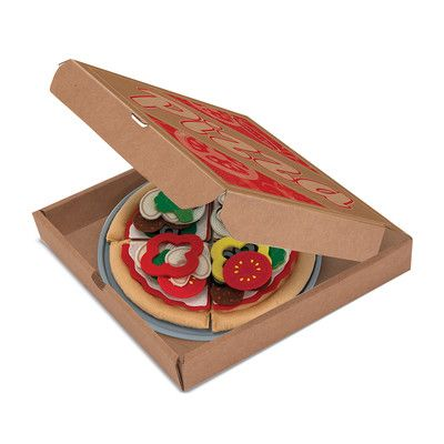 Features:  -Make a ten inch felt pizza to please any palate with this 40-piece create-a-pizza set.  -Place the four slices of pizza crust onto the durable pizza pan and pile on all your favorite pizza