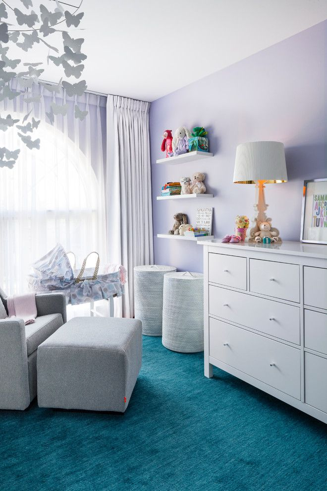 Bright Turquoise Rug technique Toronto Transitional Nursery Decorating ideas with Baby's Room Bedroom blue butterfly mobile changing table floating shelves hamper kids room light