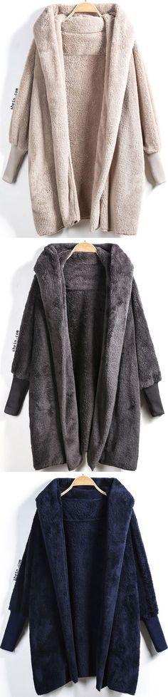 Hooded Long Sleeve Loose Cardigan