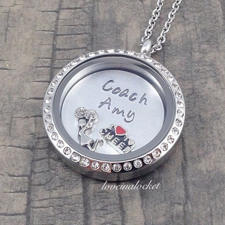 The perfect gift for a cheer coach! A beautiful floating locket necklace with…