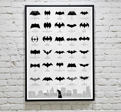 The Evolution of the Batman Logo.  Now I'm waiting for my print to arrive..: Batmanlogo, The Batman, Comic, Thebatman, Movie, Logos Evolution, Batman Logos, Batman Evolution, Superhero