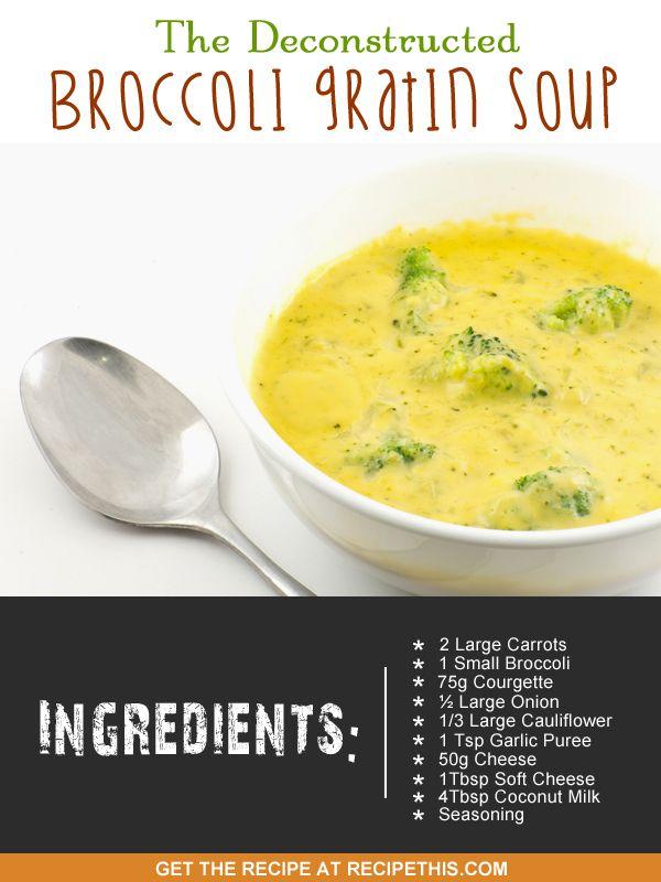 Soup Maker Recipes | The Deconstructed Broccoli Gratin Soup = a fantastic alternative to broccoli cheese soup | Recipethis.com | #soupmaker #soupmakerrecipes