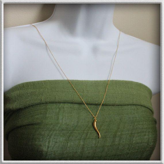 Italian horn necklace in gold plategold cornicello by MazuMazu, $24.00