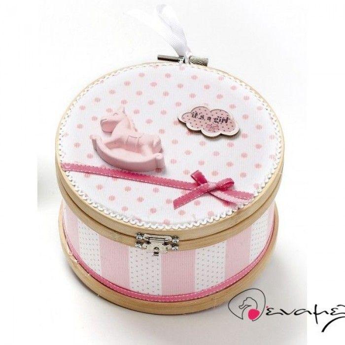 Κουτί μαρτυρικών αλογάκι καρουζέλ.Κουτί μαρτυρικών με τελάρο με ροζ - λευκό χοντρή ρίγα και στο καπάκι ροζ - λευκό πουά.  Μπορεί να γίνει αντίστοιχο σε γλάζιο.