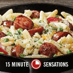 Smoked Sausage Cajun Alfredo Pasta. Adam absolutely loved this and it was the EASIEST recipe ever. Perfect for company so attention can be on talking! Add peas and cherry tomatoes.