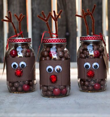 Reindeer noses mason gift jars // Rudolf rénszarvasos ajándék csokigolyókkal // Mindy - craft tutorial collection