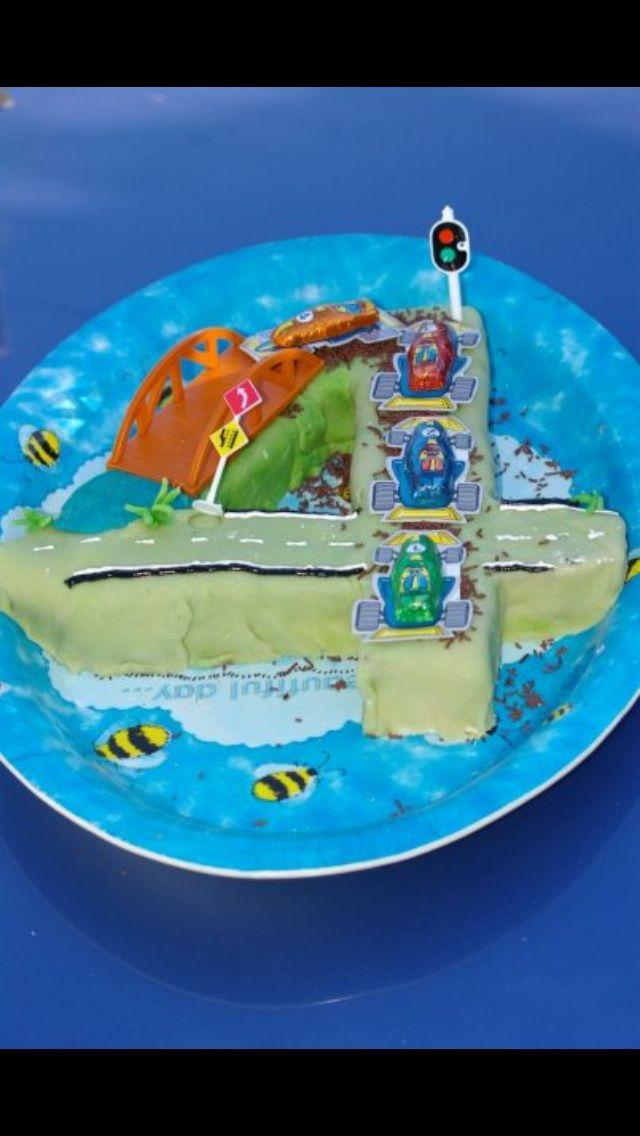 Number 4 cake racecars