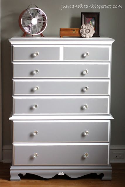 Diy dresser redo love the gray white decor ideas pinterest love the dressers and gray for Painting pine bedroom furniture white