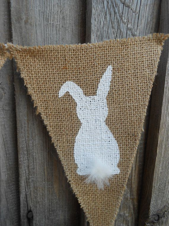Easter Bunny Banner Easter Garland Easter Burlap by Vivicreative