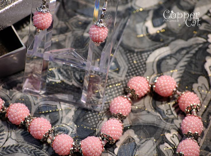 """Set earrings\necklace """"Morning Star"""" by """"Copper Cat Art Group"""". Seed beads jewelry. Handcraft. Ukrainian folk art."""