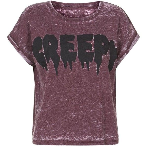 Burgundy Creepy Burnout T-Shirt (€5,66) ❤ liked on Polyvore featuring tops, t-shirts, shirts, tees, purple tee, short sleeve tee, purple top, purple shirt and burgundy top