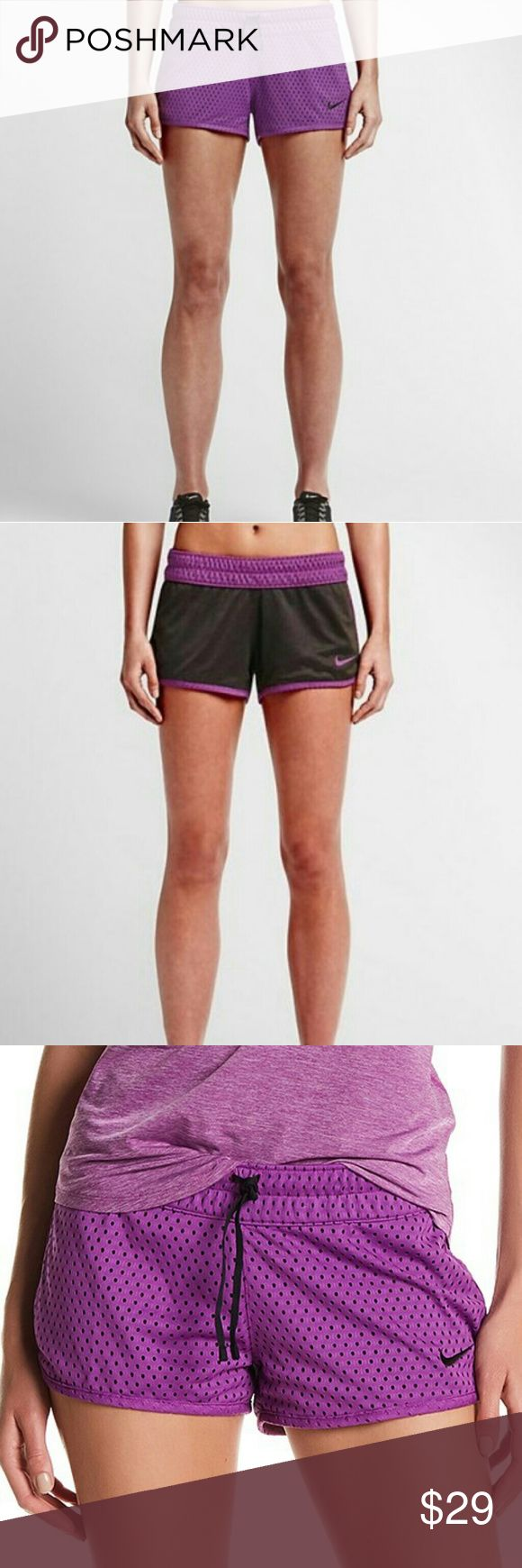 Nike Gym Reversible Shorts TWO LOOKS IN ONE  The Nike Gym Reversible Women's Training Shorts feature mesh on one side and jersey fabric on the reverse for two great looks and ventilated comfort during your workout.  BENEFITS  Dri-FIT fabric helps keep you dry and comfortable  Mesh fabric provides ventilation  Reversible design offers two great looks  Elastic waistband with drawcord for a secure fit  Shaped hem curves up slightly on the hip to enhance mobility  PRODUCT DETAILS  Fabric…