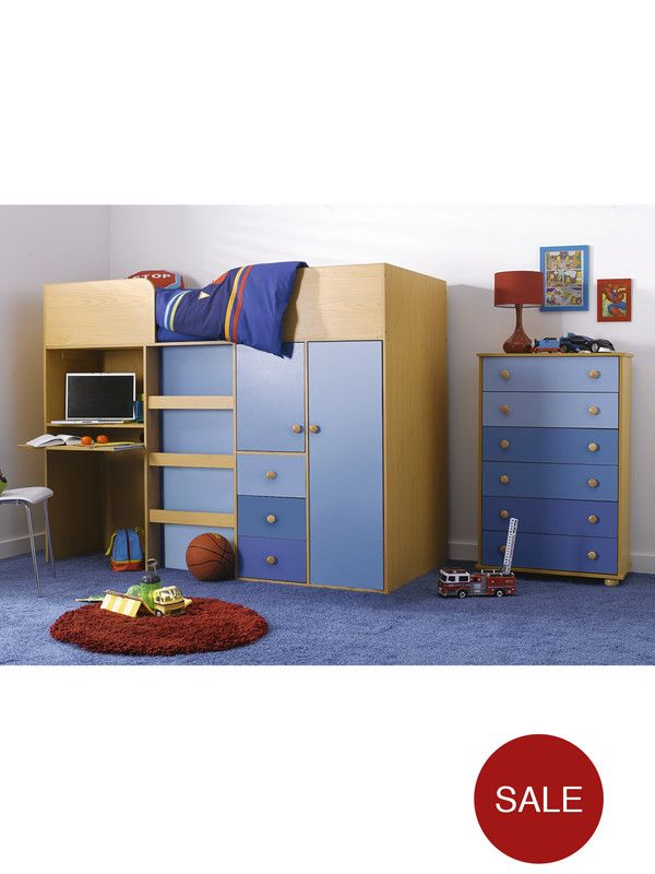 Kidspace Metro Kids Mid-sleeper Bed, Desk and Storage | very.co.uk