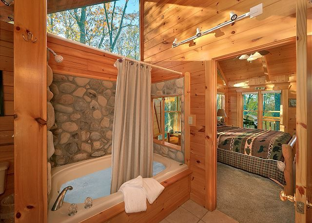 Moonlight Obsession Is A Beautiful 2 Bedroom Log Cabin With Jacuzzi Tubs In Each Bedroom Log Cabin Bedrooms Gatlinburg Cabin Rentals Buy Hot Tub