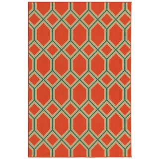 "Surfview 6660C Lattice Indoor/Outdoor Area Rug (7'10"" X 10'10"") - ORANGE/TEAL - $599.00"