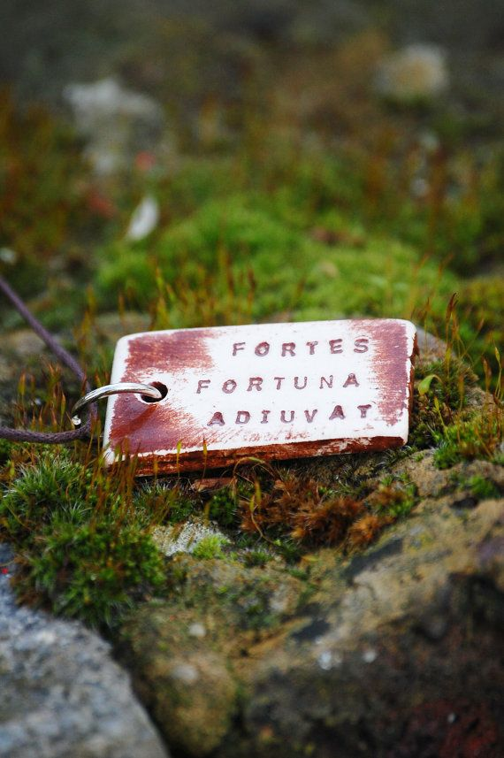 Latin quote necklace with engraved pendant in by FeelingWild (FORTES FORTUNA ADIUVAT)