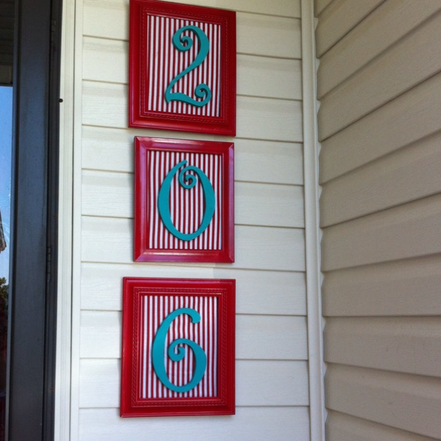 House numbers. Red and teal