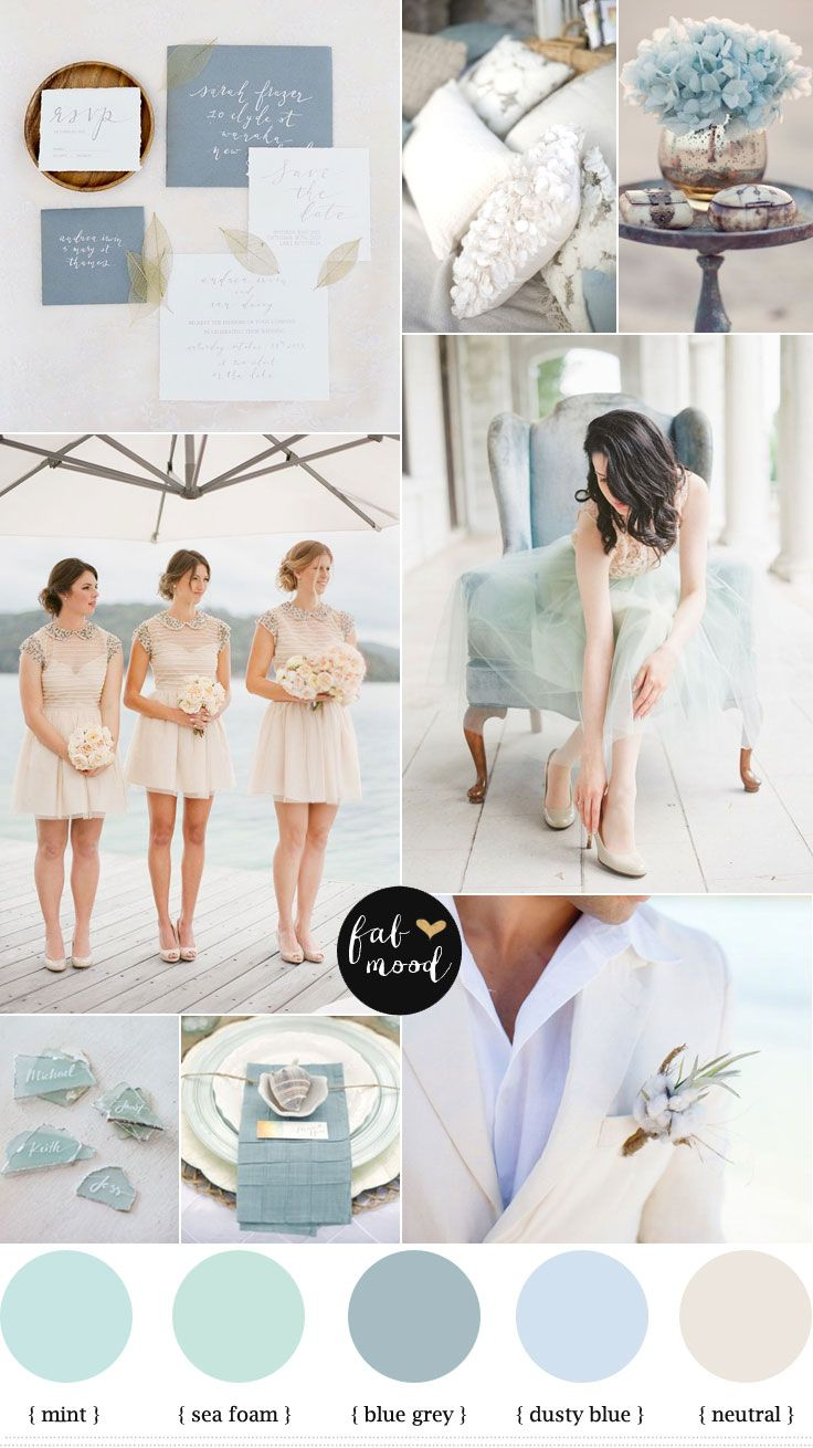 Blue grey,Dusty blue,Mint,Sea Foam and Neutral beach wedding inspiration | fabmood.com