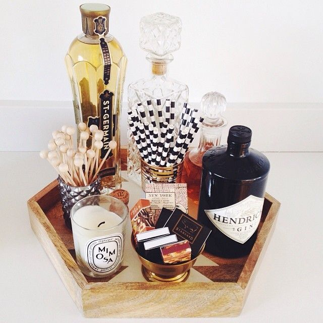 bar cart styling via grey + scout