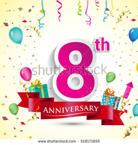 8th Year Anniversary Celebration Design, with gift box and balloons, red ribbon, Colorful Vector template elements for your birthday party.