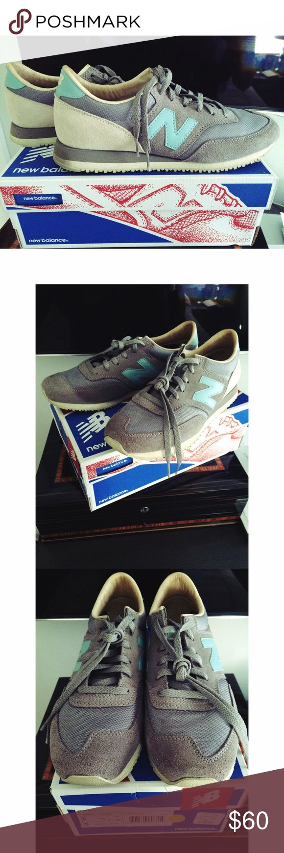 New Balance Classic Sneakers Grey and light blue new balance sneakers great for this Fall! Barely worn, extra laces included in box. New Balance Shoes Sneakers