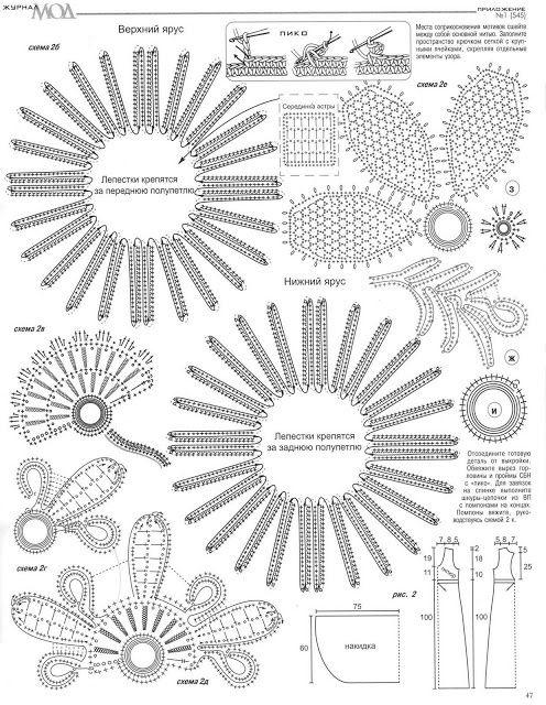 Motivos de flores en crochet lace para realizar diferentes tejidos.