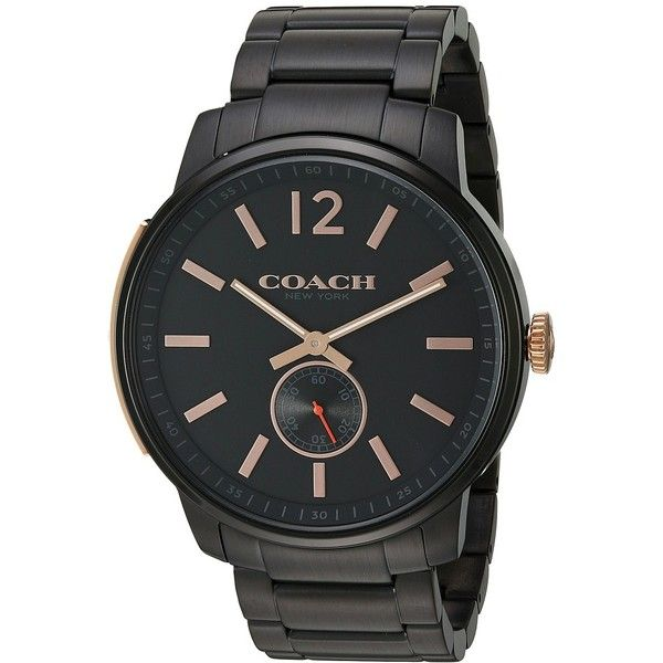 COACH Bleecker - 14602080 (Black) Watches ($325) ❤ liked on Polyvore featuring men's fashion, men's jewelry, men's watches, coach mens watches, mens military watches and slim mens watches