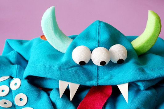 DIY Monster Costume by Lisa Storms, fiskars.com: Jump start this project and make it fun and stress free by starting with an inexpensive hoody or  tee shirt. Perfect for girls and boys, a monster can be any color and scary or not! #Halloween #Costume #Kids #Monster #fiskars