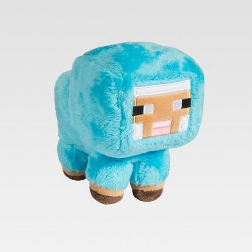Cuddle up with a blue Baby Sheep stuffed toy from the Minecraft video game.
