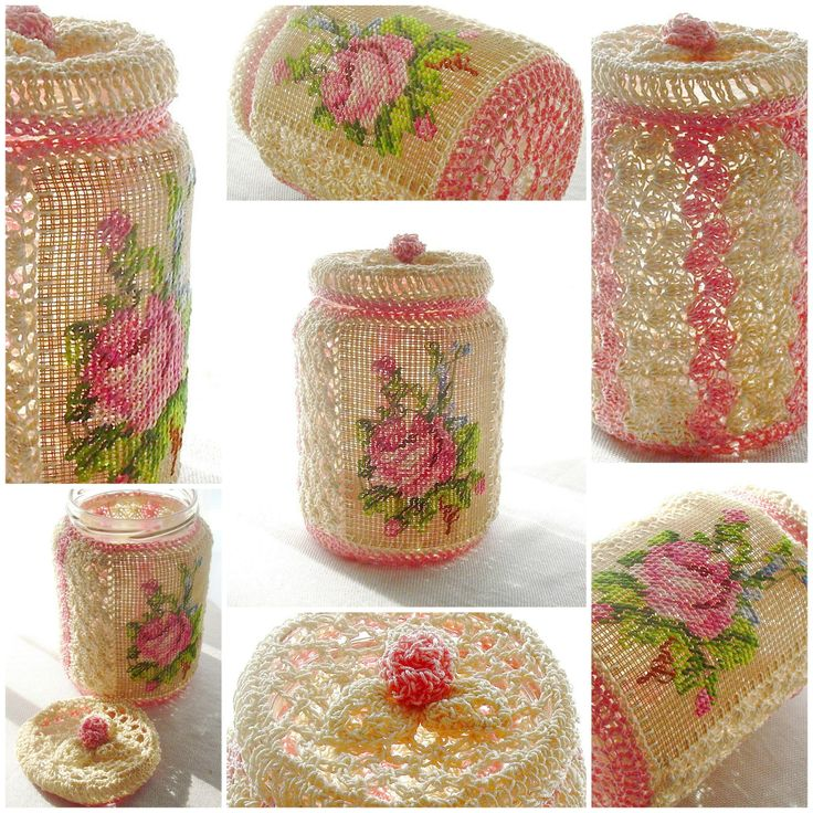 Magduska - Crochet, embroidery - recycling glass