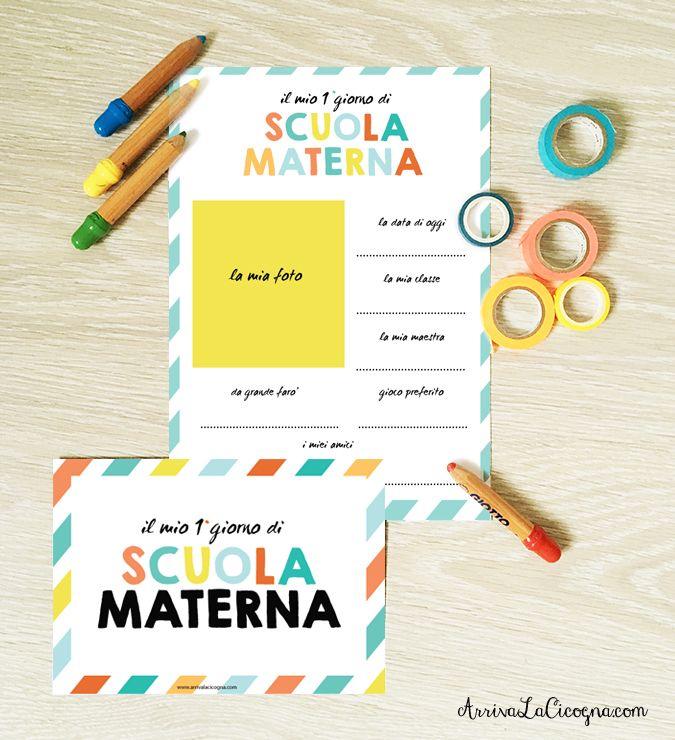 Arriva la cicogna: Primo giorno di Scuola Materna: i printables gratu...