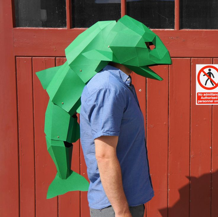 DIY, Low Poly, Animal Masks by Wintercroft. Papercraft Handmade Masks for Halloween. fish head mask