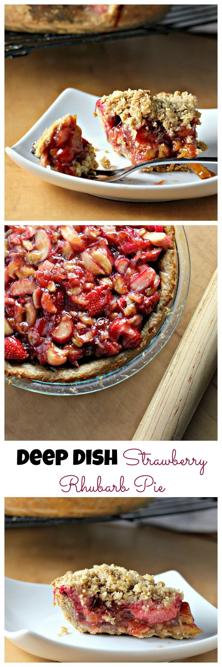 deep-dish strawberry rhubarb pie with crumb topping