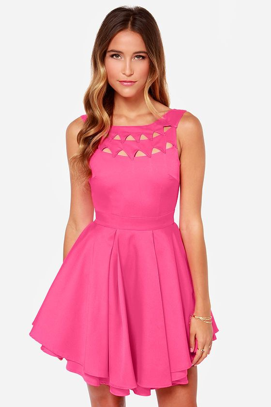 Flirting With Danger Cutout Fuchsia Dress - Dresses For Teenagers