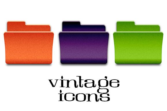 Vintage Folder Icons by Marmalade Moon on Creative Market