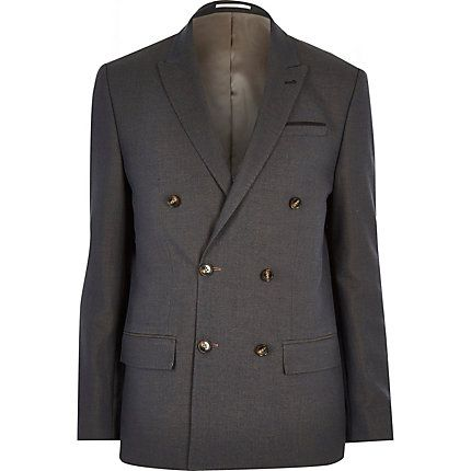 Navy double breasted slim suit jacket $100.00