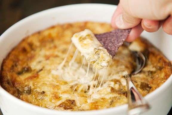 hot cheesy green chile dip recipe | use real butter