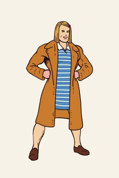 Superman dresses up as Margot Tenenbaum