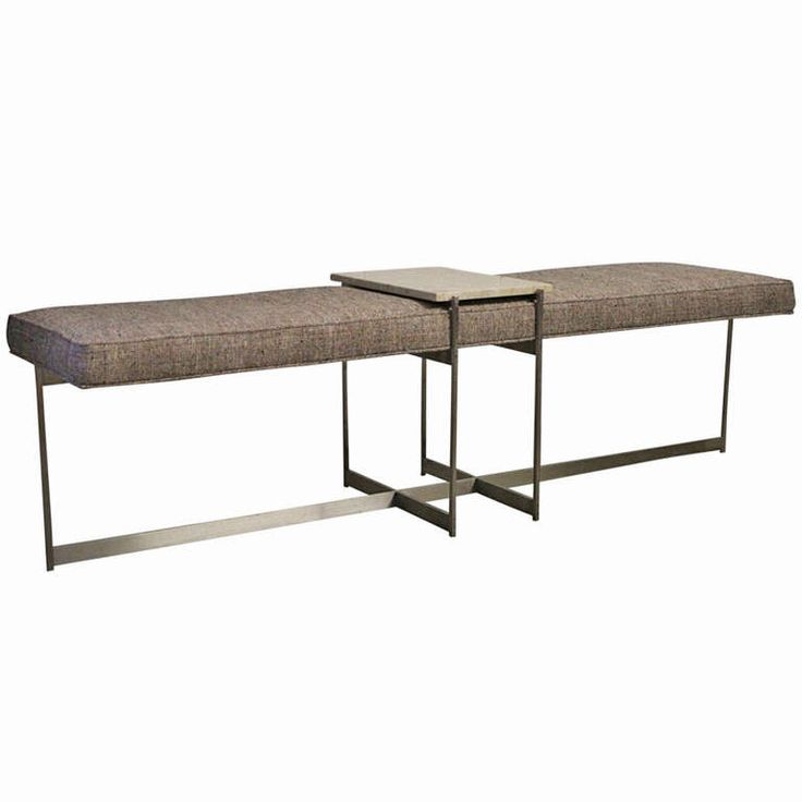 Architectural Bench with Stainless Steel Base (pair available) | From a unique collection of antique and modern benches at http://www.1stdibs.com/furniture/seating/benches/