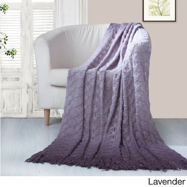 Chic Home Anderson Ombre Knitted and Mercerized Yarn Dye Throw Blanket - Free Shipping On Orders Over $45 - Overstock.com - 17968227
