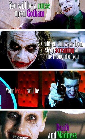 The Joker | Jack Nicholson's Joker, Heath Ledger Dark Knight Joker, Jerome from Gotham (batman tv show), and Jared Leto Suicide Squad Joker