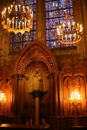 """The interior of small churches or great cathedrals. That atmosphere of reverence in the buildings that represent """"man"""" reaching out to god, in reverence or in fear, to worship  or to placate"""