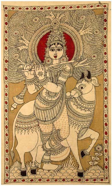 Kalamkari painting beautiful indian folk painting artistic creation sweet krishna and cow