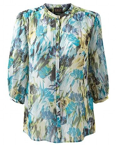 Brady Silk Chiffon Blouse Our pure silk Brady Silk Chiffon Blouse features an exclusive print design, soft gathering on the cuffs and comes in a feminine, slightly sheer chiffon fabrication. Team with our batwing cardigans and cords, or style with a pencil skirt for two different looks.