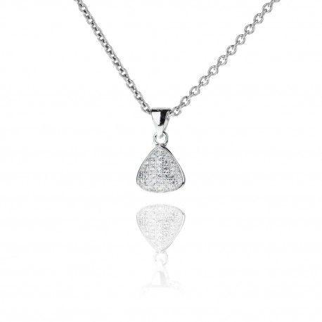 Rhodiovaný stříbrný náhrdelník s ploškou se zirkony