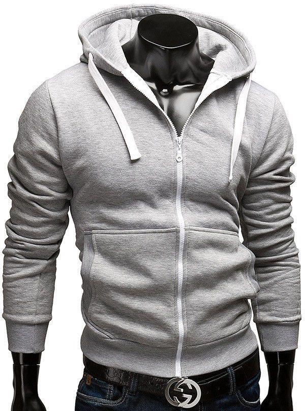 Men Casual Long-sleeved Zipper Hoodie