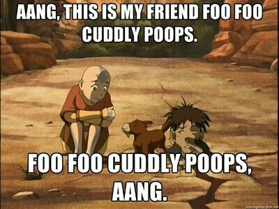 Aang, this is my friend Foo Foo Cuddly Poops, Foo Foo Cuddly Poops, Aang, funny, text, Sokka, Aang, sabertooth moose lion; Avatar: the Last Airbender