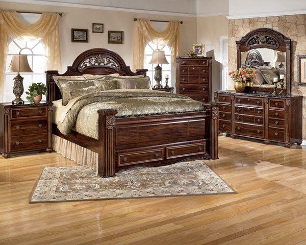 Gabriela Traditional Dark Brown Wood Master Bedroom Set Bedroom