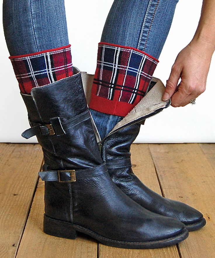 Look what I found on #zulily! Red Plaid Boot Cuffs by Grace and Lace #zulilyfinds